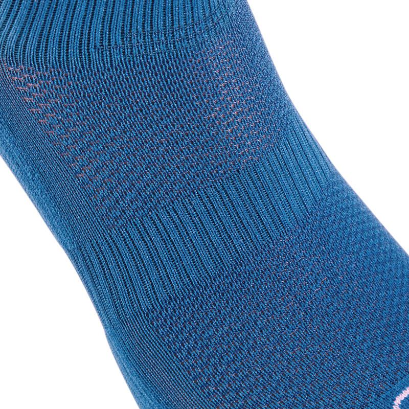 Confort children's athletics socks high pack of 2 blue fluo red