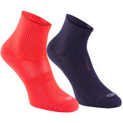 Confort children's athletics socks high pack of 2 purple pink coral