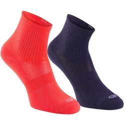 兒童高筒田徑運動襪 2雙入 Confort 紫色 粉紅 珊瑚色