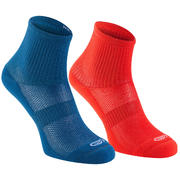 Confort children's athletics socks high pack of 2 blue fluo red