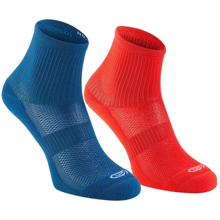 Chaussettes Athlétisme Enfant Confort Tige haute lot de 2 bleu rouge fluo
