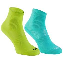 兒童高筒田徑運動襪 2雙入 Confort 土耳其藍 螢光黃