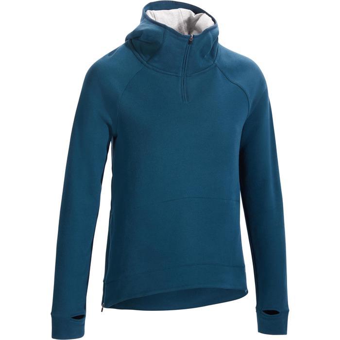 Sweat-shirt 900 Gym & Pilates Femme capuche bleu glacier - 1317385