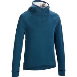 Dames hoodie 900 voor gym en pilates eendenblauw