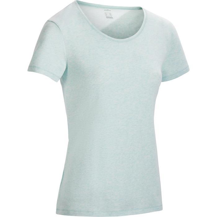 T-Shirt 500 régular manches courtes Gym & Pilates femme vert clair chiné
