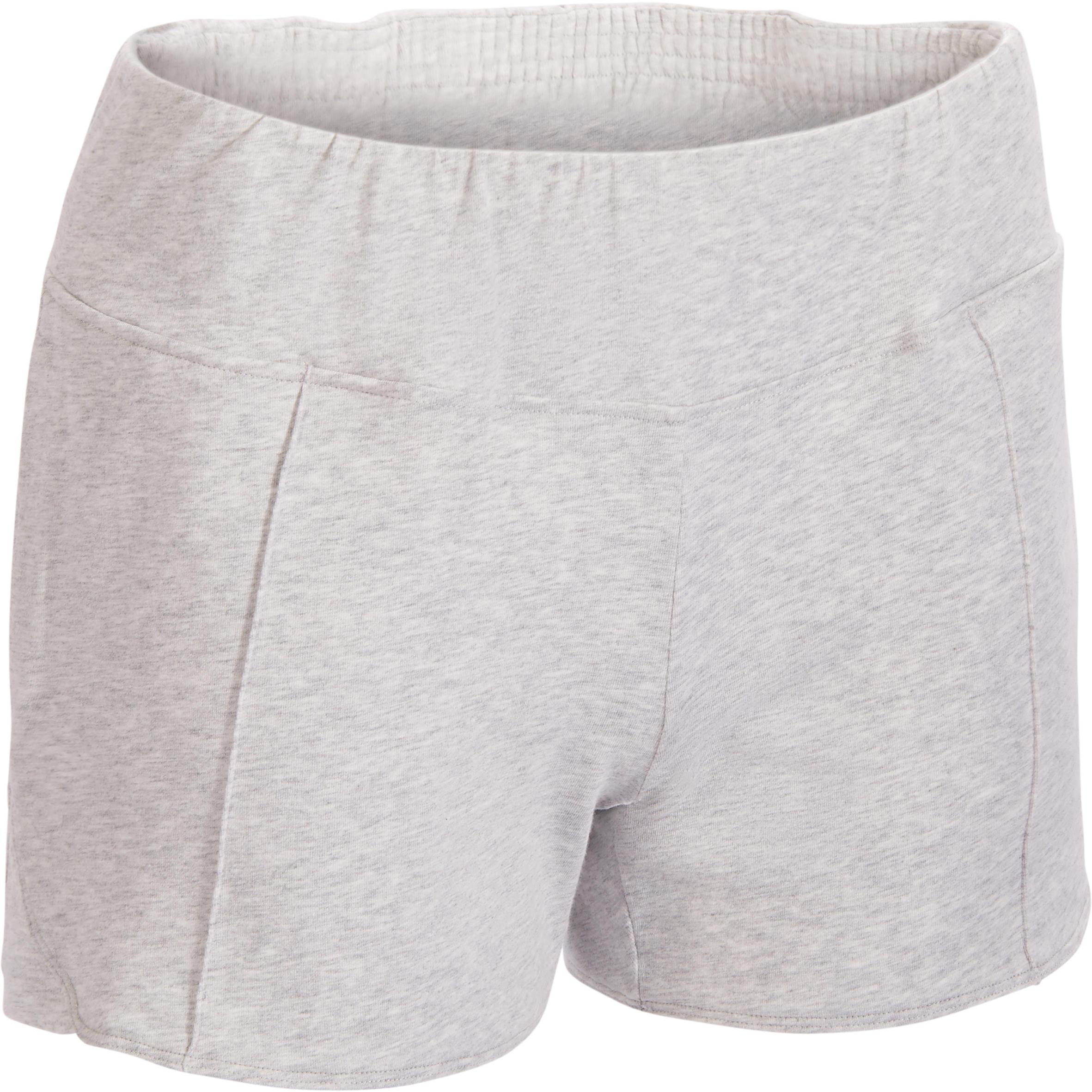 Short 520 para gimnasia y pilates para mujer gris claro jaspeado