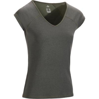 0e817d58065b35 500 Women s Slim-Fit Short-Sleeved Gym   Pilates T-Shirt - Khaki ...