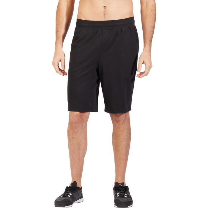 Herenshort 500 voor gym en stretching regular fit tot net boven de knie zwart