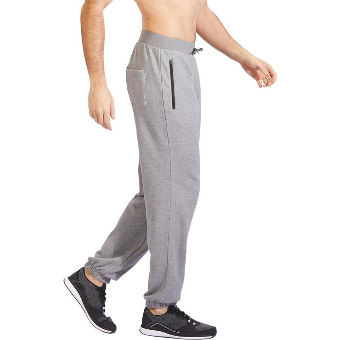 Herenbroek 500 voor gym en stretching regular fit rits gemêleerd lichtgrijs