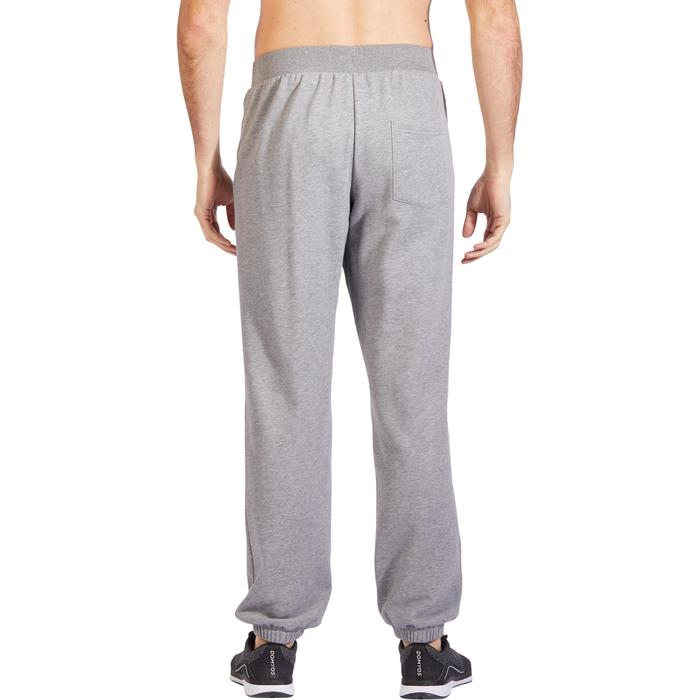 Pantalon 500 regular zip Gym Stretching homme gris clair chiné
