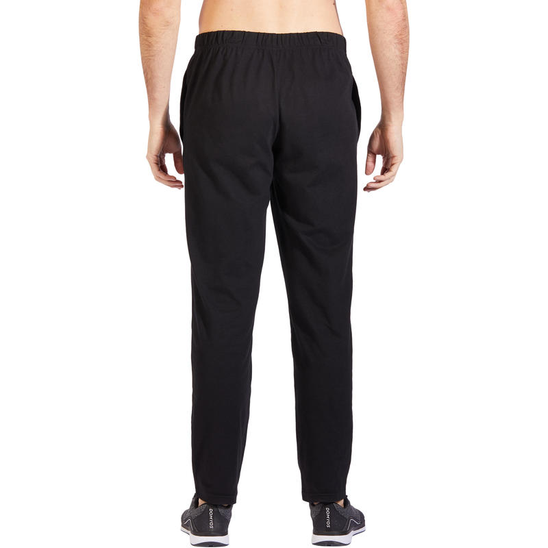 Pantalón 100 Regular Pilates y Gimnasia suave negro hombre