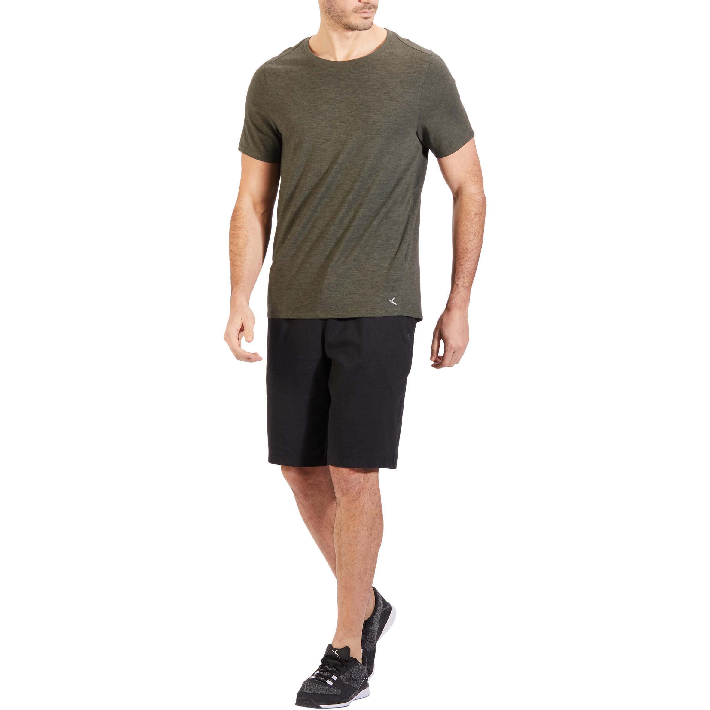 500 Regular-Fit Knee-Length Pilates & Gentle Gym Shorts - Black