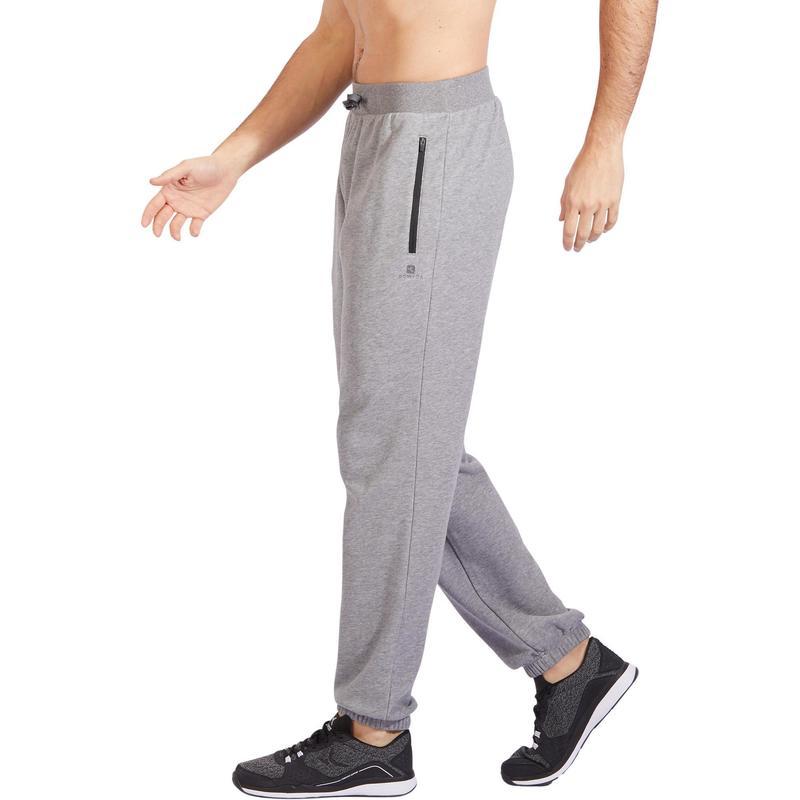 grande vente be4f7 b913c Vêtements homme - Pantalon 500 regular zip Gym Stretching homme gris clair  chiné