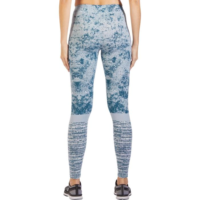 Leggings Fit+ 500 Slim Gym & Pilates Damen eisblau mit Print