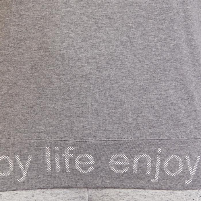 T-Shirt 500 manches longues Gym & Pilates femme gris chiné moyen - 1317953