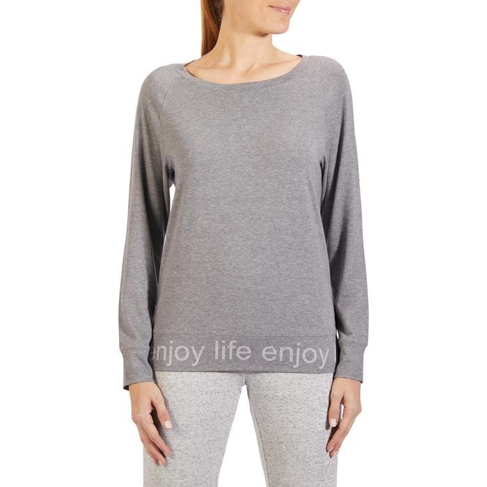 T-Shirt 500 manches longues Gym & Pilates femme gris chiné moyen - 1317964
