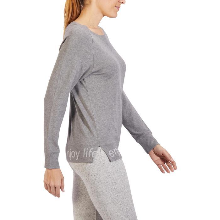T-Shirt 500 manches longues Gym & Pilates femme gris chiné moyen - 1317967