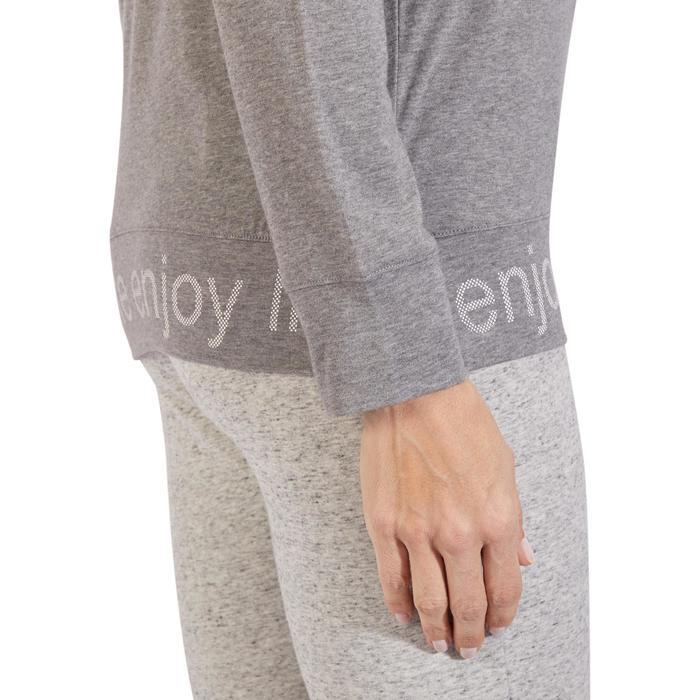 T-Shirt 500 manches longues Gym & Pilates femme gris chiné moyen - 1317969