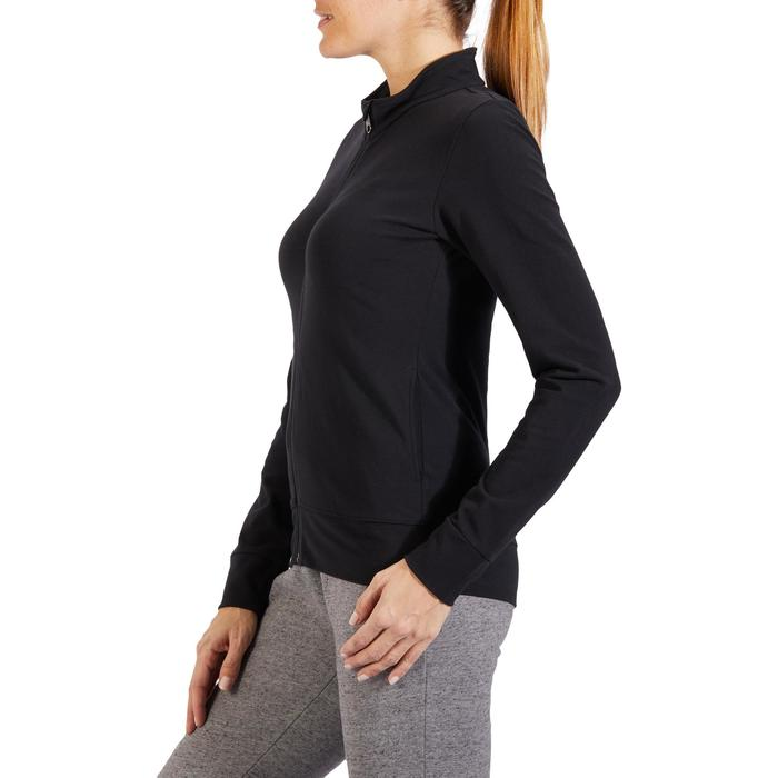 Trainingsjacke 100 Pilates sanfte Gymnastik Damen schwarz