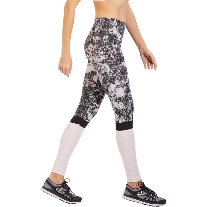 Leggings Slim Fit+ 500 Gym & Pilates Damen mit Sandrosenprint