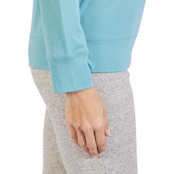 Langarmshirt 500 Gym Damen eisblau bedruckt