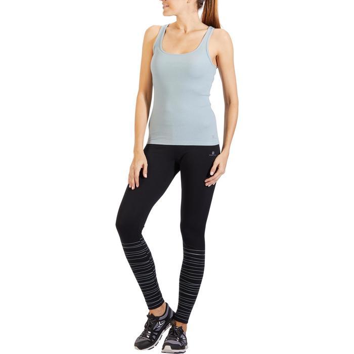 Tanktop 500 voor gym en pilates, voor dames, grijzig lichtblauw