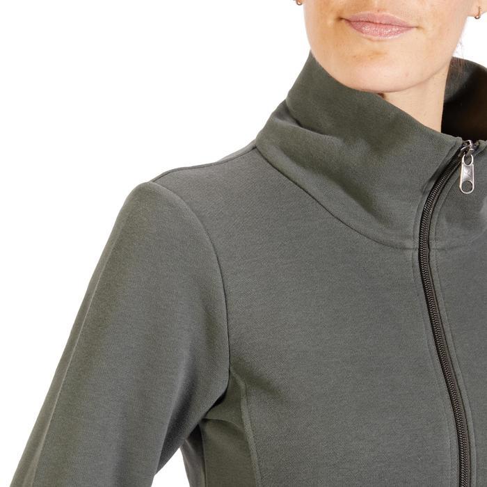 Veste 500 Gym & Pilates femme sans capuche zippée kaki
