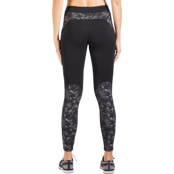 Legging 520 pilates en lichte gym dames zwart met print