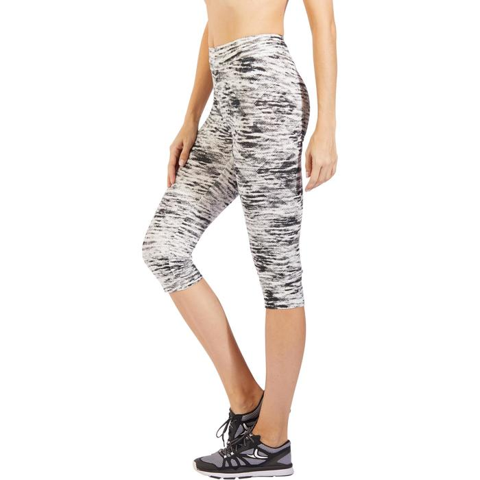 3/4-Hose Fit+ 500 Slim Fitness Damen graublau print