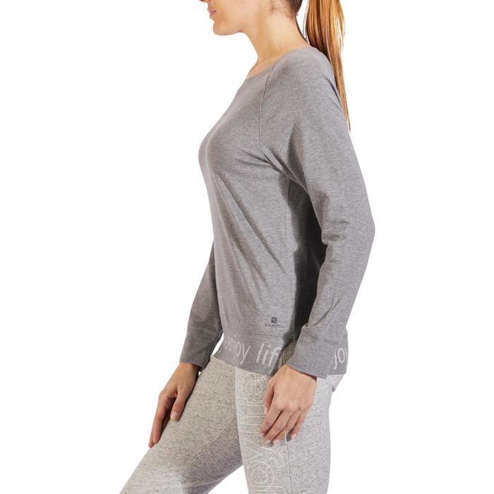 T-shirt 500, gym en pilates, lange mouwen, voor dames, gemêleerd middengrijs