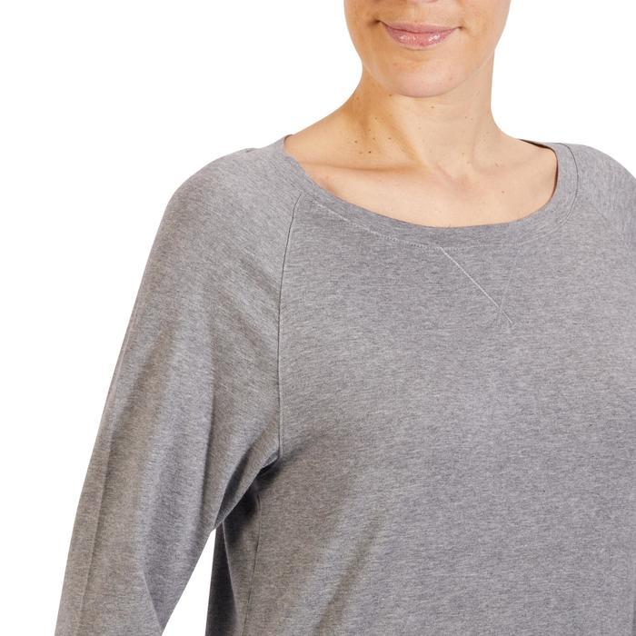 T-Shirt 500 manches longues Gym & Pilates femme gris chiné moyen - 1318074
