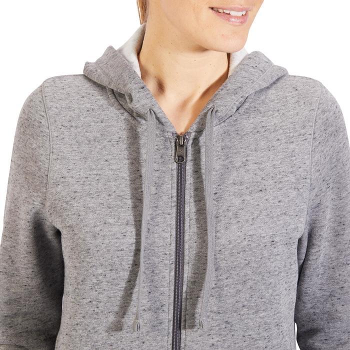 Hoodie 520 voor lichte gym en pilates dames gemêleerd grijs
