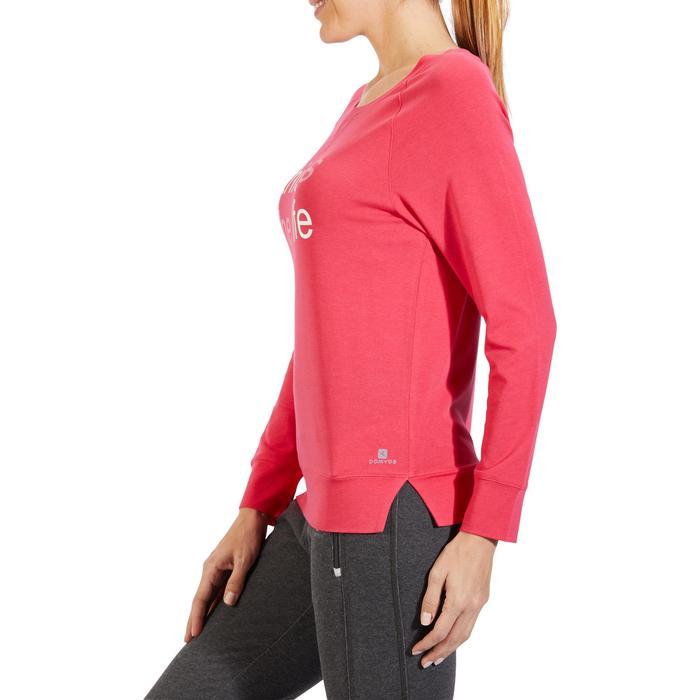 Langarmshirt 500 Gym Damen rosa bedruckt