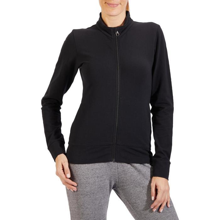 Veste 100 Gym & Pilates Femme sans capuche noir - 1318104