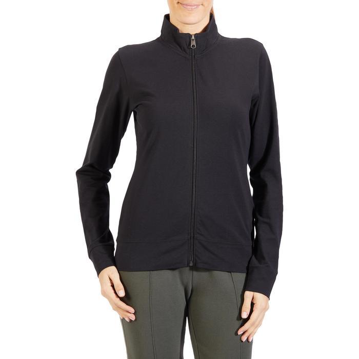 Veste 100 Gym & Pilates Femme sans capuche noir - 1318107