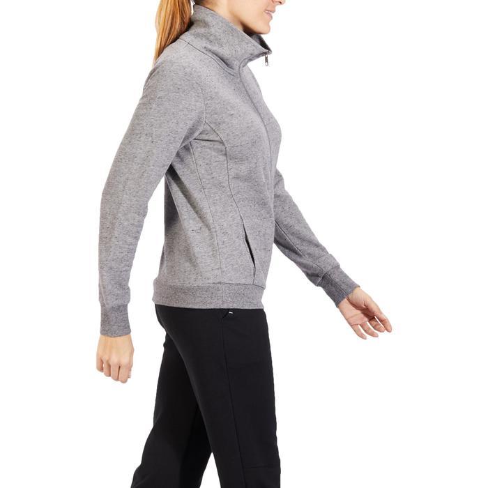 Veste 500 col montant Pilates Gym douce femme gris chiné