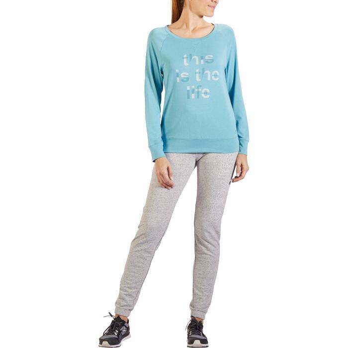 Camiseta 500 de manga larga gimnasia y pilates mujer azul estampado