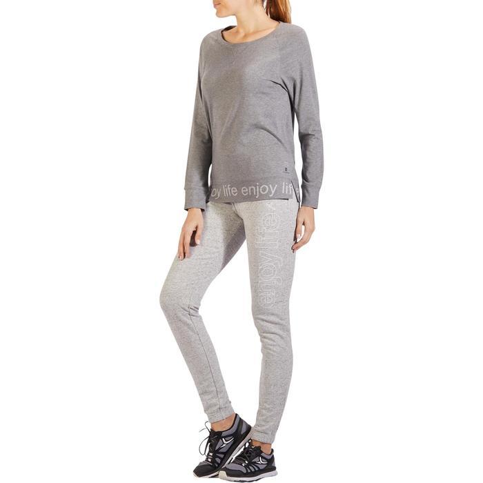 T-Shirt 500 manches longues Gym & Pilates femme gris chiné moyen - 1318142