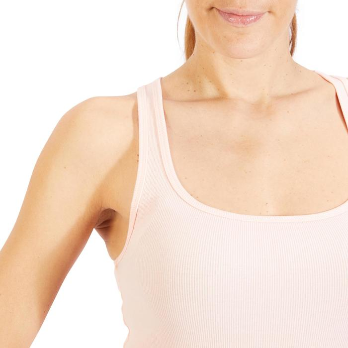 Camiseta sin mangas 500 Gimnasia Stretching mujer rosa claro