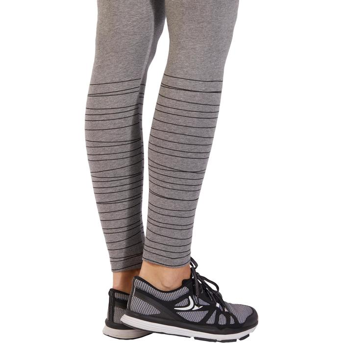 Leggings 500 Fit+ Slim Gym Damen grau meliert/schwarze
