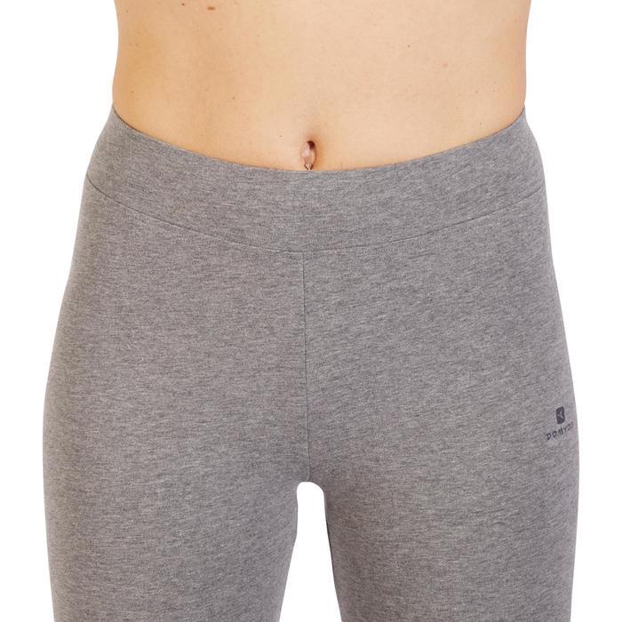 Leggings Slim Fit+ 500 Gym Stretching Damen grau