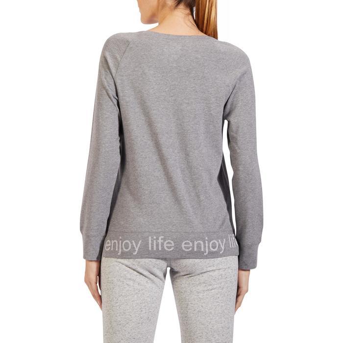 T-Shirt 500 manches longues Gym & Pilates femme gris chiné moyen - 1318203