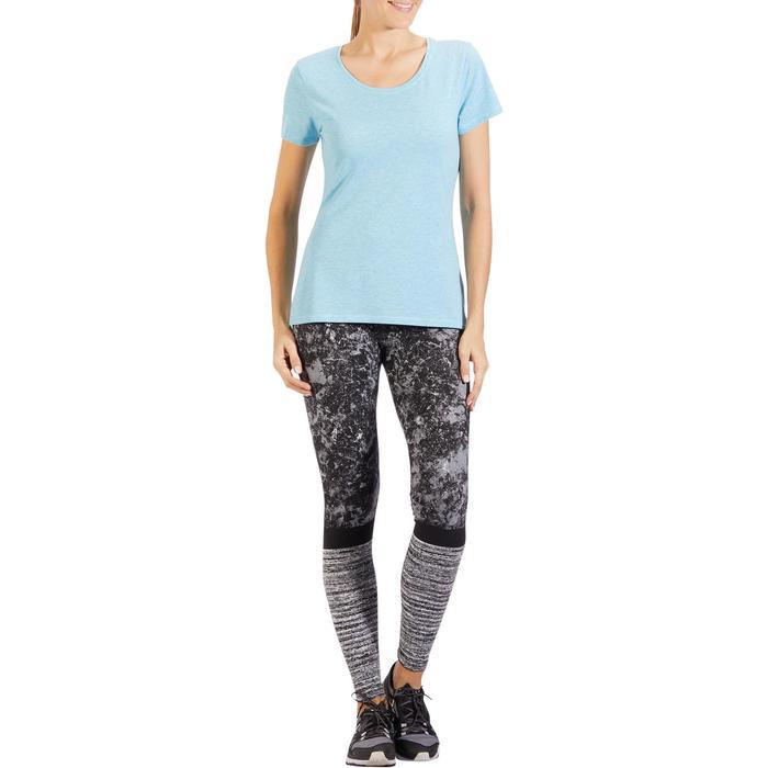 T-Shirt 500 régular manches courtes Gym & Pilates femme bleu moyen chiné