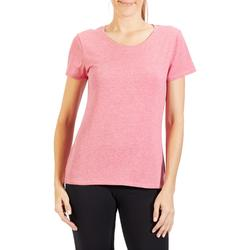 T-Shirt Regular 500 Gym Stretching Damen dunkelrosa meliert