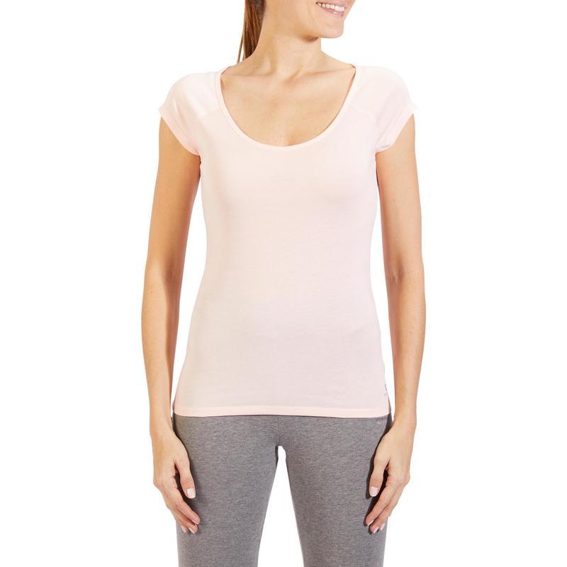394a610aaec22 Camiseta De Manga Corta De Gimnasia Y Pilates Domyos 500 Slim Mujer Rosa  Claro