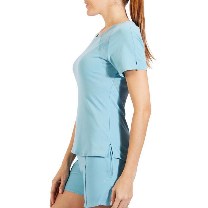 Camiseta De Manga Corta De Gimnasia Y Pilates Domyos 520 De Mujer Azul