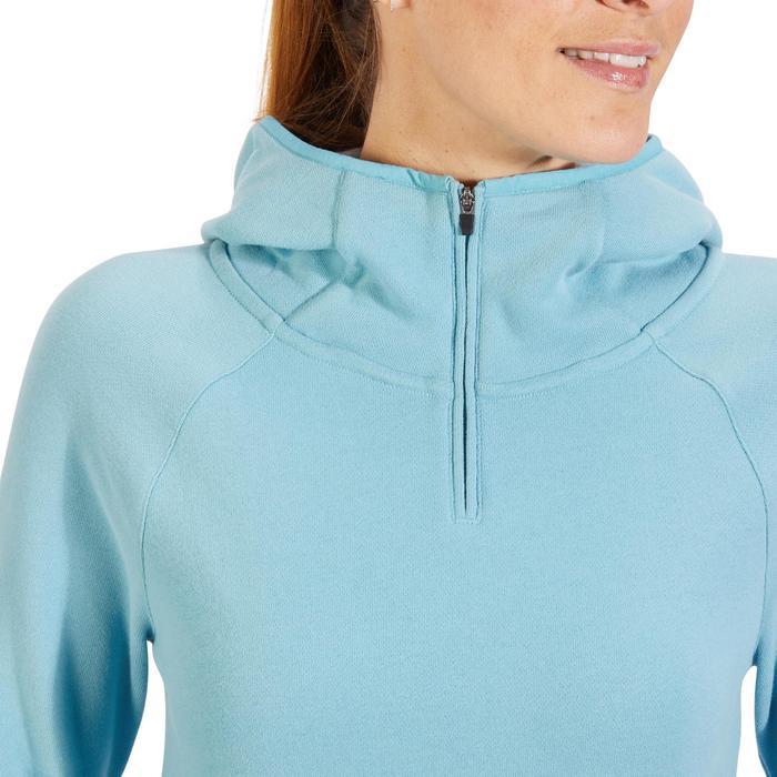 Sweat-shirt 900 Gym & Pilates Femme capuche bleu glacier - 1318266