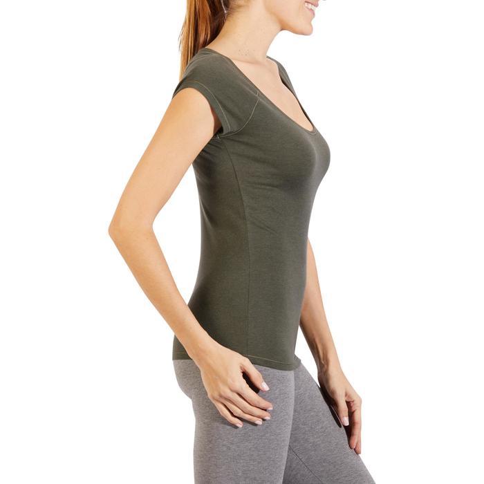 Camiseta 500 slim manga corta gimnasia y pilates mujer caqui