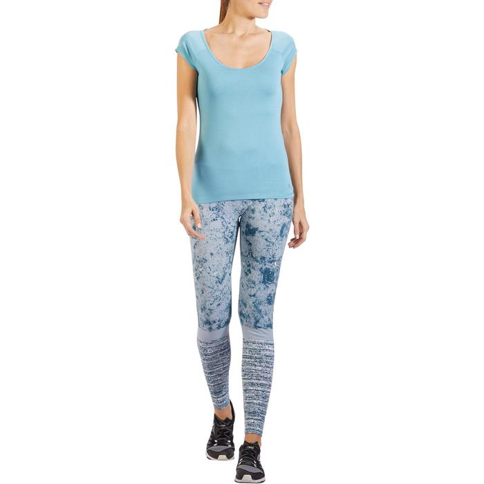 T-Shirt 500 Slim Gym Damen hellblau