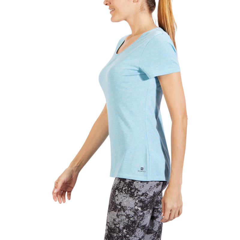 T-Shirt 500 regular Pilates Gym douce bleu